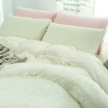 冬季保暖套件 水晶绒法兰绒羊糕绒四件套 水貂绒纯色加厚四件套