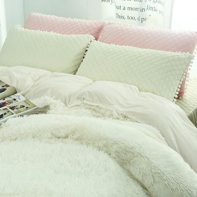 冬季保暖套件 水晶绒法兰绒羊糕绒四件套 水貂绒纯色加厚四件套 1.5m(5英尺)床 白色