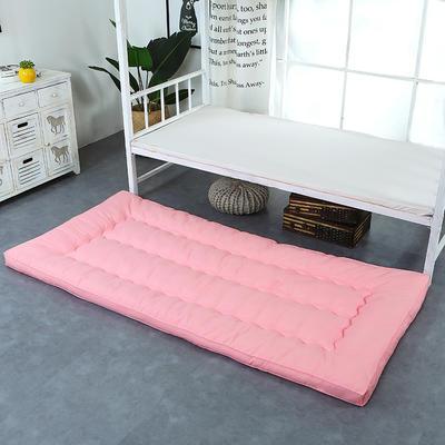 纯色羽丝绒床垫小床--学生上下铺加厚羽丝绒床垫 90x195 粉色