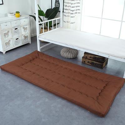 纯色羽丝绒床垫小床--学生上下铺加厚羽丝绒床垫 90x195 咖啡色
