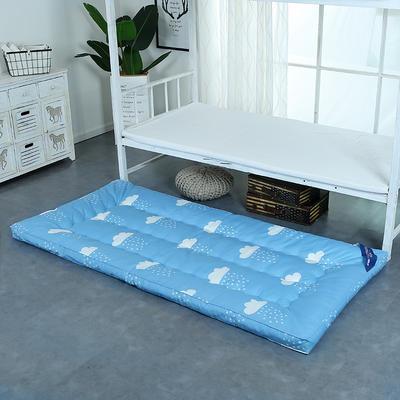 印花床垫小床--学生上下铺加厚羽丝绒床垫 90*195 云朵蓝