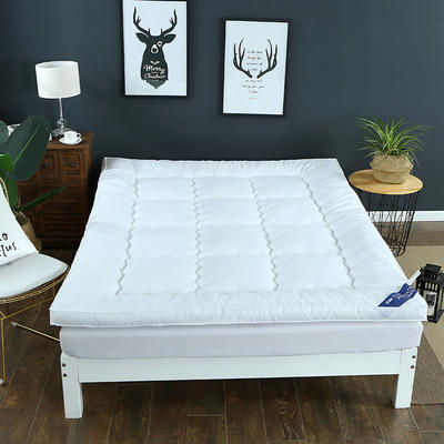 2018新款--纯色磨毛羽丝绒床垫 90x195cm 白色