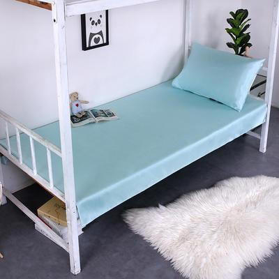 2019新款学生可水洗冰丝床单 床单:120cmx200cm 纯色薄荷绿