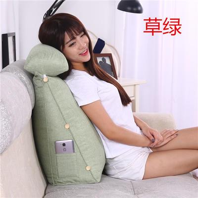 棉麻三角靠垫带圆枕可拆洗沙发抱枕靠垫床头靠垫 45*45*20+Ф16 草绿