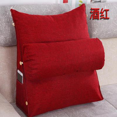 棉麻三角靠垫带圆枕可拆洗沙发抱枕靠垫床头靠垫 45*45*20+Ф16 酒红