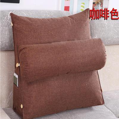 棉麻三角靠垫带圆枕可拆洗沙发抱枕靠垫床头靠垫 45*45*20+Ф16 咖啡色