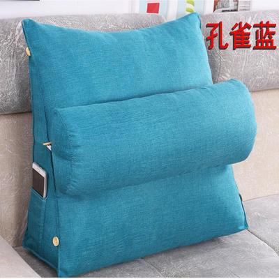 棉麻三角靠垫带圆枕可拆洗沙发抱枕靠垫床头靠垫 45*45*20+Ф16 孔雀蓝