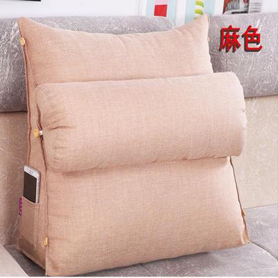 棉麻三角靠垫带圆枕可拆洗沙发抱枕靠垫床头靠垫 45*45*20+Ф16 麻色