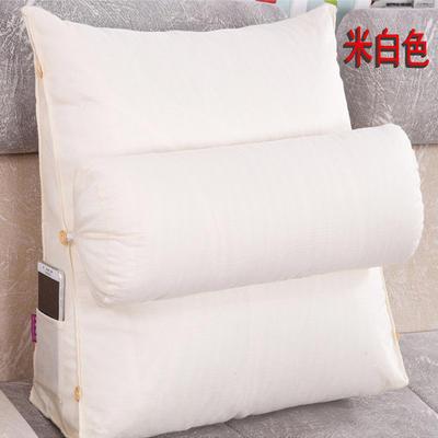 棉麻三角靠垫带圆枕可拆洗沙发抱枕靠垫床头靠垫 45*45*20+Ф16 米白色