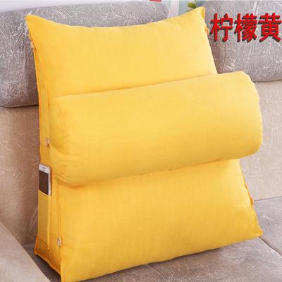 棉麻三角靠垫带圆枕可拆洗沙发抱枕靠垫床头靠垫 45*45*20+Ф16 柠檬黄