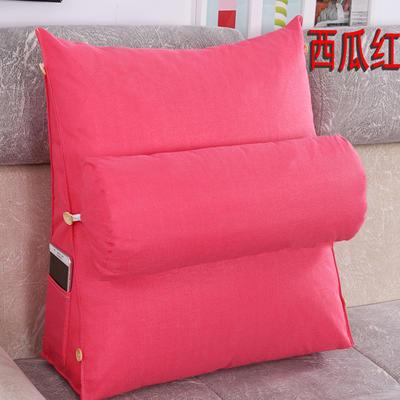 棉麻三角靠垫带圆枕可拆洗沙发抱枕靠垫床头靠垫 45*45*20+Ф16 西瓜红