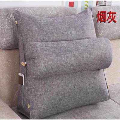 棉麻三角靠垫带圆枕可拆洗沙发抱枕靠垫床头靠垫 45*45*20+Ф16 烟灰