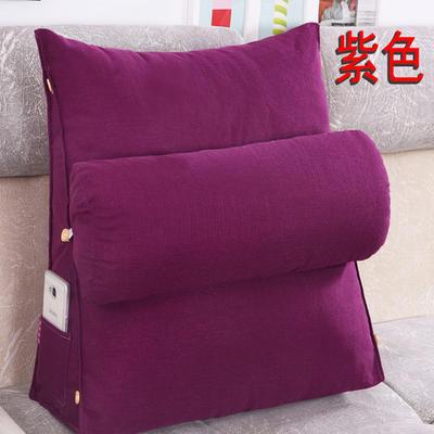 棉麻三角靠垫带圆枕可拆洗沙发抱枕靠垫床头靠垫 45*45*20+Ф16 紫色