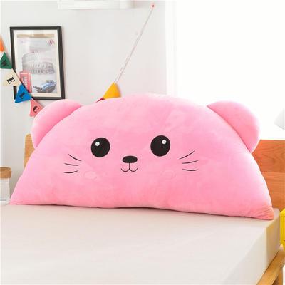绣花卡通大靠垫 床头靠垫榻榻米软包 床上大抱枕 120*60cm 圆眼猫 粉