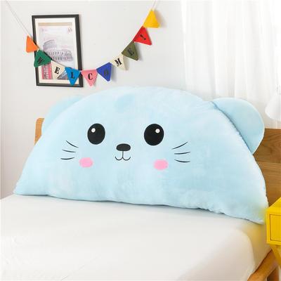 绣花卡通大靠垫 床头靠垫榻榻米软包 床上大抱枕 120*60cm 圆眼猫 蓝