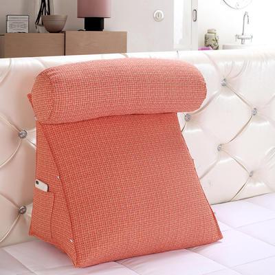 亚麻带圆枕三角靠垫可拆洗带圆枕靠垫沙发床头抱枕布艺 47*40*25+Ф16 蜜桔色