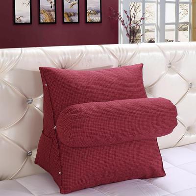 亚麻带圆枕三角靠垫可拆洗带圆枕靠垫沙发床头抱枕布艺 47*40*25+Ф16 酒红色