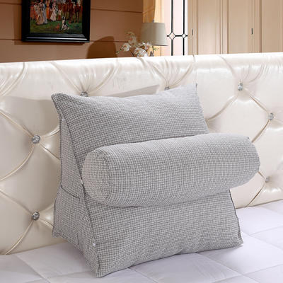 亚麻带圆枕三角靠垫可拆洗带圆枕靠垫沙发床头抱枕布艺 47*40*25+Ф16 浅灰色