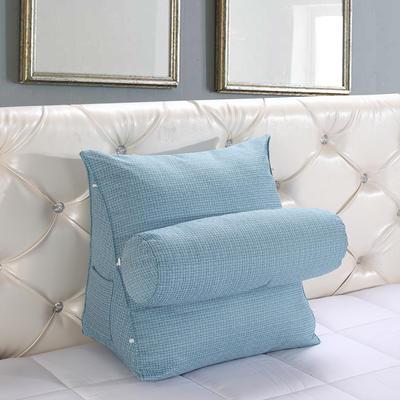亚麻带圆枕三角靠垫可拆洗带圆枕靠垫沙发床头抱枕布艺 47*40*25+Ф16 天蓝色