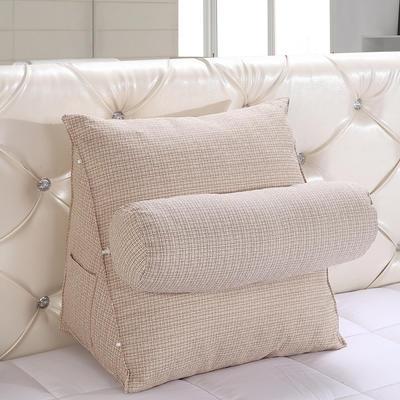 亚麻带圆枕三角靠垫可拆洗带圆枕靠垫沙发床头抱枕布艺 47*40*25+Ф16 象牙色
