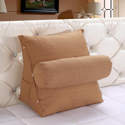亚麻带圆枕三角靠垫可拆洗带圆枕靠垫沙发床头抱枕布艺 47*40*25+Ф16 亚麻色