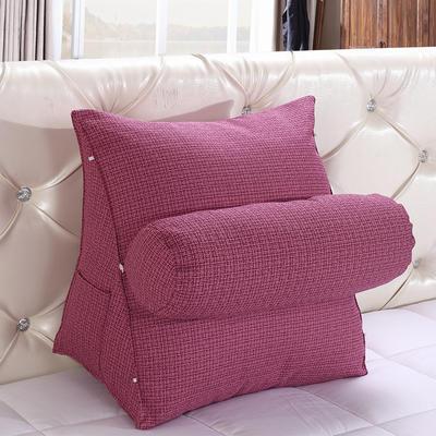 亚麻带圆枕三角靠垫可拆洗带圆枕靠垫沙发床头抱枕布艺 47*40*25+Ф16 胭脂色