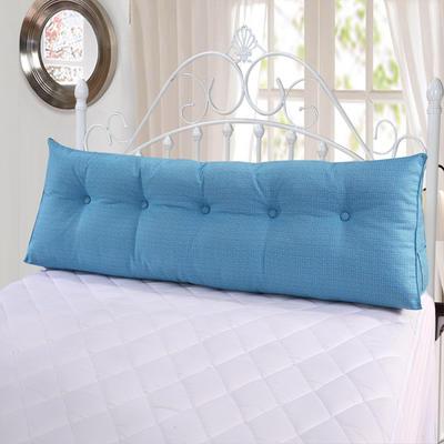 亚麻长三角靠垫可拆洗床头靠垫沙发靠枕抱枕布艺榻榻米软包 200*50*20 双色麻长三角蓝色