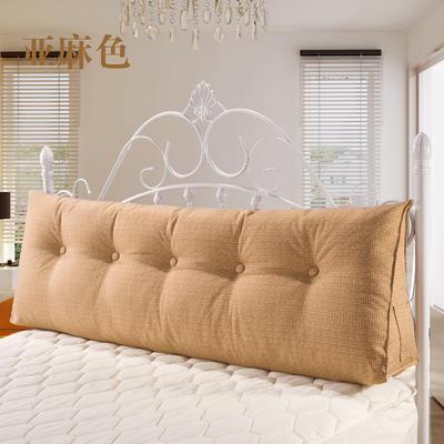 亚麻长三角靠垫可拆洗床头靠垫沙发靠枕抱枕布艺榻榻米软包 200*50*20 亚麻色