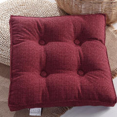 亚麻坐垫加厚榻榻米坐垫学生椅垫办公室坐垫可拆洗坐垫靠垫 40X40cm 酒红