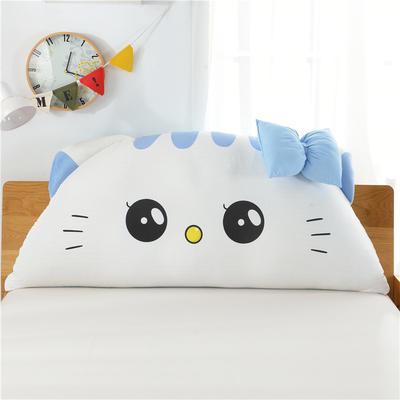 床头靠垫大靠背床头软包卡通猫咪靠垫床上大抱枕10月新品 180*80 美美猫 蓝