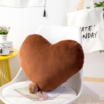 爱心抱枕 婚庆水晶绒床头靠垫 创意女生毛绒办公室沙发抱枕 40*52cm 咖啡色