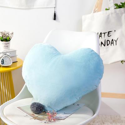 爱心抱枕 婚庆水晶绒床头靠垫 创意女生毛绒办公室沙发抱枕 40*52cm 蓝色