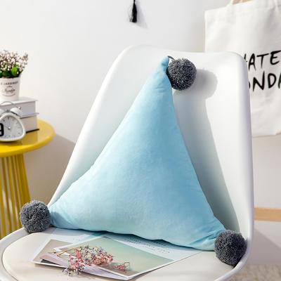三角抱枕 公主风水晶绒床头靠垫 创意女生毛绒办公室沙发抱枕 48*48*48cm 蓝色