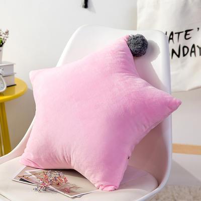 五角星抱枕 可爱风水晶绒床头靠垫 创意女生毛绒办公室沙发抱枕 55*55cm 粉色
