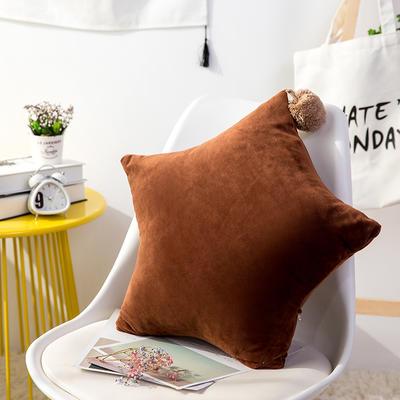 五角星抱枕 可爱风水晶绒床头靠垫 创意女生毛绒办公室沙发抱枕 55*55cm 咖啡色
