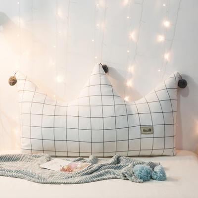 新款皇冠靠垫 全棉床头靠垫 床上大靠枕 公主风榻榻米软包 120*80cm 白格子
