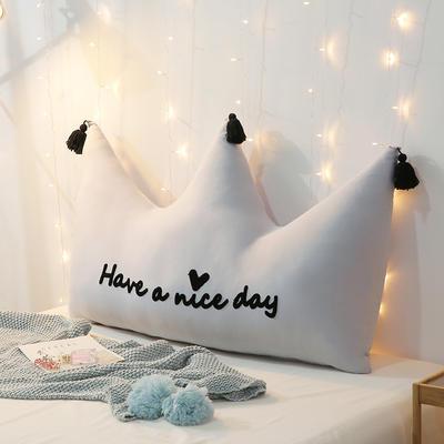 新款皇冠靠垫 全棉床头靠垫 床上大靠枕 公主风榻榻米软包 120*80cm 流苏灰