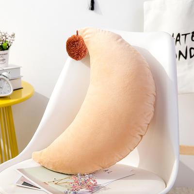月亮抱枕 可爱风水晶绒毛球靠垫 创意女生毛绒办公室沙发抱枕 25*48cm 橙色
