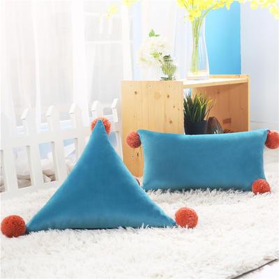 新品北欧ins风可拆水洗纯色靠垫 可爱荷兰绒抱枕沙发靠办公室腰靠 三角含芯48*48*48 宝蓝