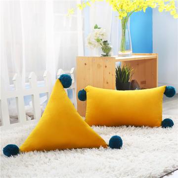 新品北欧ins风可拆水洗纯色靠垫 可爱荷兰绒抱枕沙发靠办公室腰靠