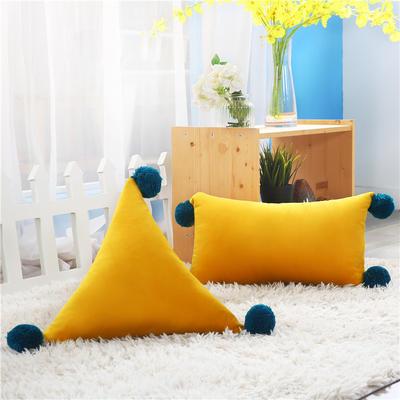 新品北欧ins风可拆水洗纯色靠垫 可爱荷兰绒抱枕沙发靠办公室腰靠 三角含芯48*48*48 橙黄