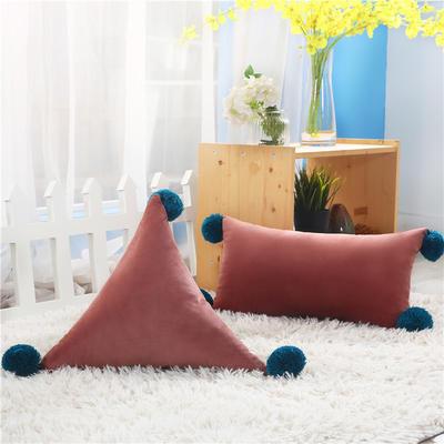 新品北欧ins风可拆水洗纯色靠垫 可爱荷兰绒抱枕沙发靠办公室腰靠 三角含芯48*48*48 豆沙