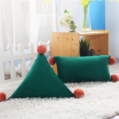新品北欧ins风可拆水洗纯色靠垫 可爱荷兰绒抱枕沙发靠办公室腰靠 三角含芯48*48*48 墨绿