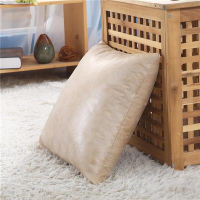 厂家直销新品纯色皮感抱枕套 沙发复古靠垫办公室车用靠背不含芯 45x45cm不含芯 白羊皮