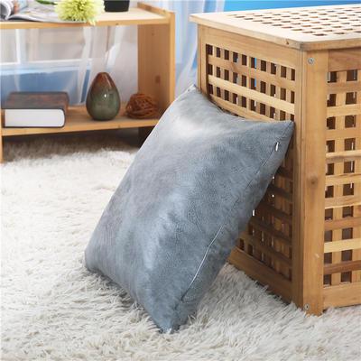 厂家直销新品纯色皮感抱枕套 沙发复古靠垫办公室车用靠背不含芯 45x45cm不含芯 大象皮