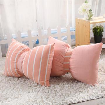 ins创意全棉水洗蝴蝶结抱枕 纯色格子AB版办公室腰靠可拆洗床头靠