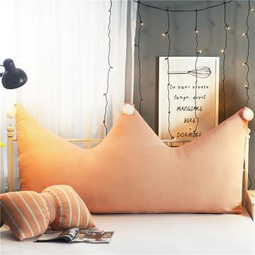 全棉水洗棉简约皇冠床头软包靠垫大靠背 格子可拆洗软萌AB版抱枕