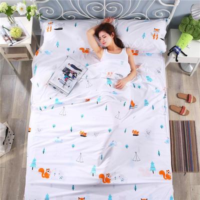 纯棉酒店印花隔脏睡袋 便捷式成人旅行户外信封床单枕头套件批发 萌宠日记80*230