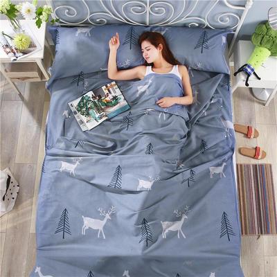 纯棉酒店印花隔脏睡袋 便捷式成人旅行户外信封床单枕头套件批发 麋鹿森林80*230