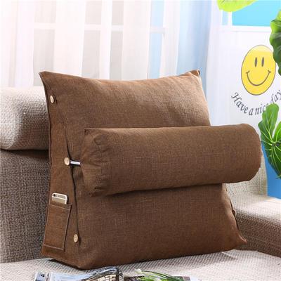 竹节麻三角靠垫-三角靠垫 床头靠垫 大靠背 床上靠枕 棉麻亚麻 45*48*20+Ф16含芯 咖啡色